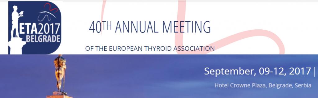 40TH ANNUAL EUROPEAN THYROID ASSOCIATION (ETA) MEETING ...