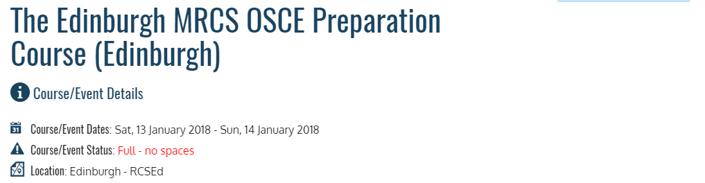 The Edinburgh MRCS OSCE Preparation Course (Edinburgh) | AllCongress